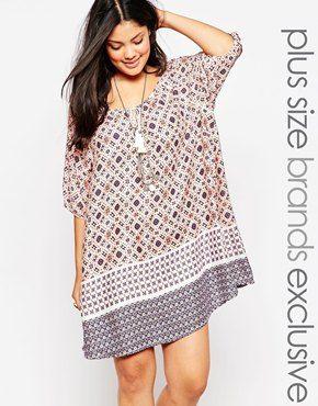 Vestido túnica con bordes estampados de New Look Inspire