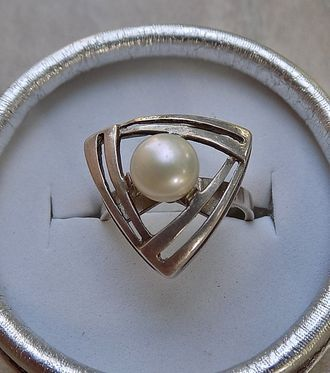 Винтажное кольцо, жемчуг, серебро 875, размер 17