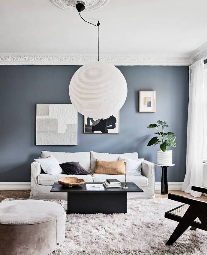 Inspiring Home With Blue Accents Coco Lapine Design Accent Walls In Living Room Living Room Interior Living Room Scandinavian