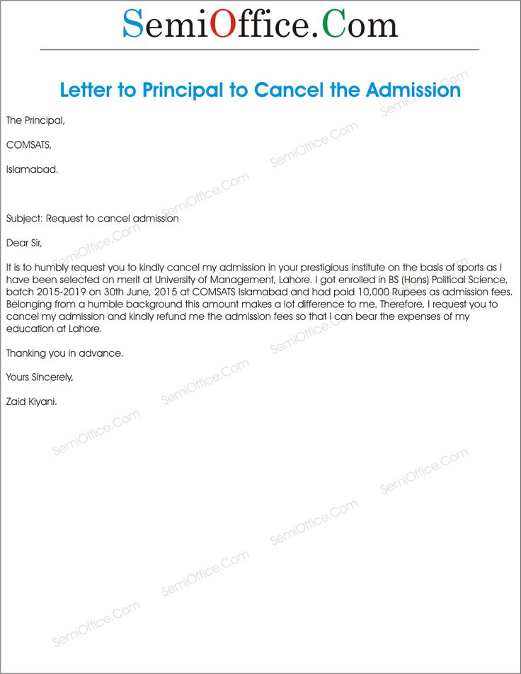 Application For Cancellation Admission Semioffice You That Your