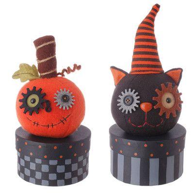 RAZ Cat & Pumpkin Halloween Box Set of 2