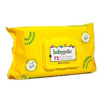 """Salviettine Detergenti Babygella    Imbevute di dermolatte, sono un valido aiuto per la detersione del bambino in ogni momento della giornata. In morbido e resistente """"tessuto non tessuto"""", lasciano la pelle morbida, idratata e delicatamente profumata.     A base di estratti di Salvia e Camomilla, che garantiscono un'azione decongestionante, tonificante e lenitiva.  Disponibile nei due formati pacchetto da viaggio da 15 salviettine e pacchetto pop-up da 72 salviettine."""