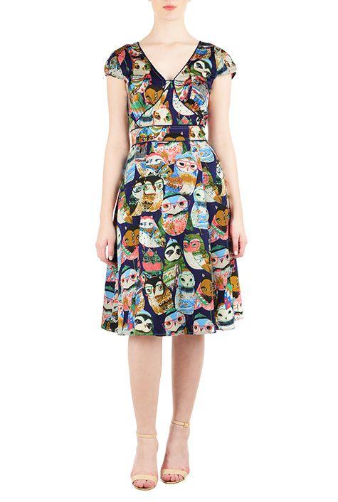 I <3 this Owl print bolero style dress from eShakti