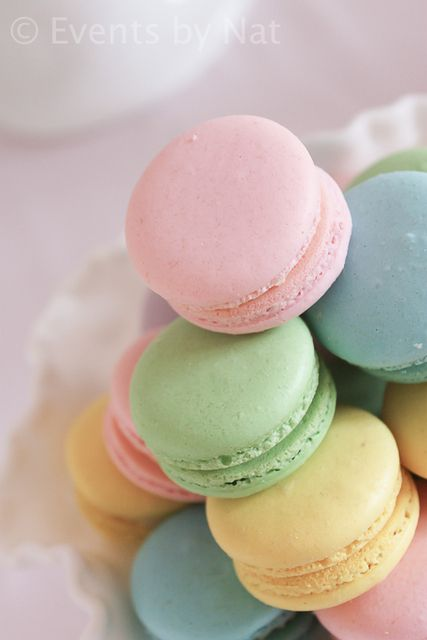 Macarons at a Pastel Rainbow Fairy Party #pastel #macarons | More pastel inspiration here: http://mylusciouslife.com/prettiness-luscious-pastel-colours/