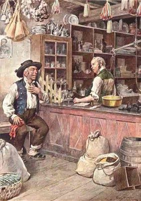 Illustration depicting local grocer shop by Mestre Alfredo Roque Gameiro (1864 - 1935).