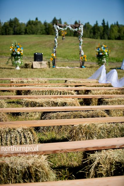 Hay Bale Wedding Benches. If you guys did do the backyard thing this would save you a bunch of money because you wouldn't have to rent chairs and you could reuse the hay as goat food! @Lindsey Grande Grande Grande Grande Grande Huff