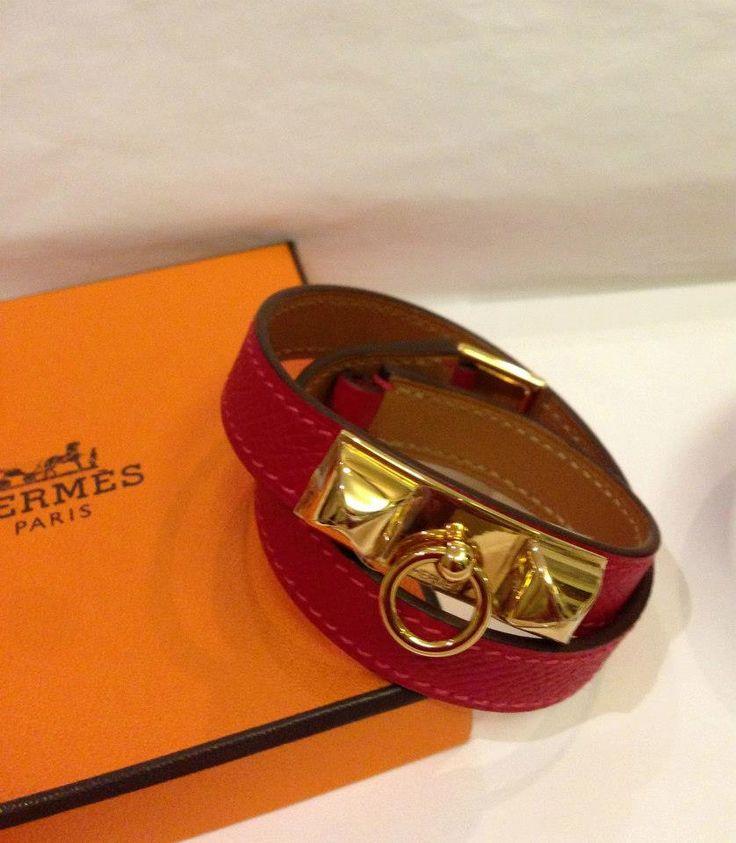 (BNIB) Hermès Rivale Double Tour Rouge Cassaque Epsom Ghw sz M #P