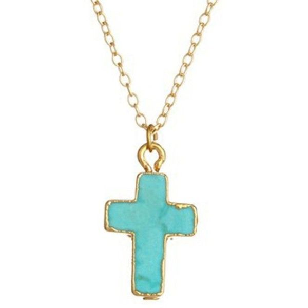 CEEK Jewelry Turquoise Small Cross (77 NZD) ❤ liked on Polyvore featuring jewelry, necklaces, accessories, crosses, turquoise, turquoise necklaces, turquoise jewelry, gold filled chain necklace, cross chain necklace and turquoise pendant