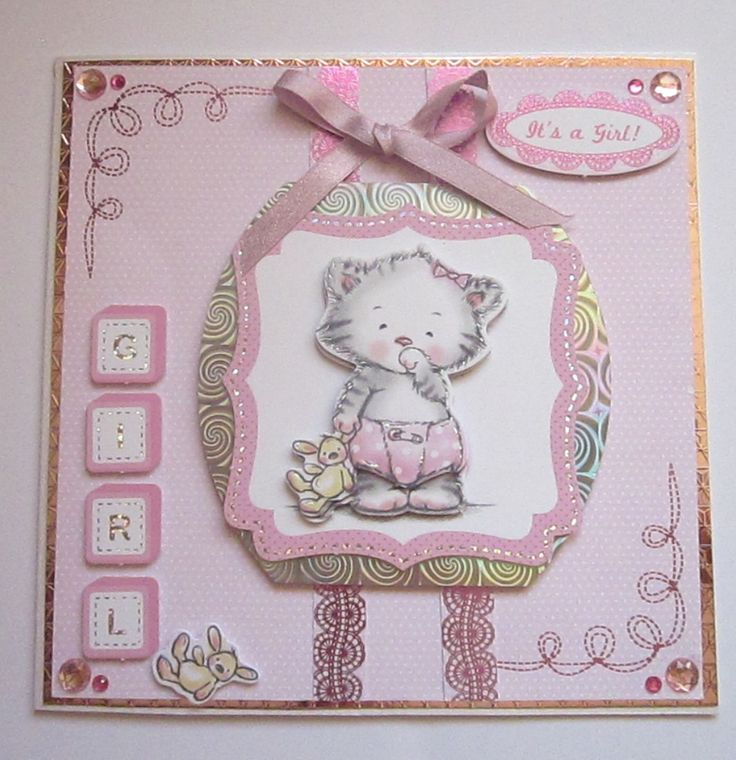 CB 33 Large square card. Super image of a cute 3D kitten mounted on a silver mat. Backing paper is pink/white dots with pink foiled borders & corners. £5  Please follow and like us: