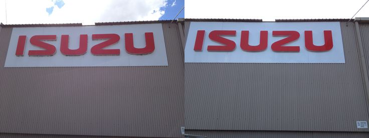 Before and after shot from cleaning a sign.