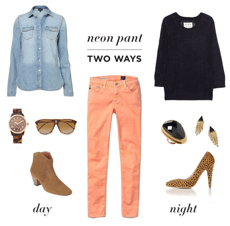 One Trend/ Two WaysColors Pants, Fashion Shoes, Neon Pants, Colors Jeans, Day Outfit, Pink Pants, Denim Shirts, Night Looks, Colors Denim