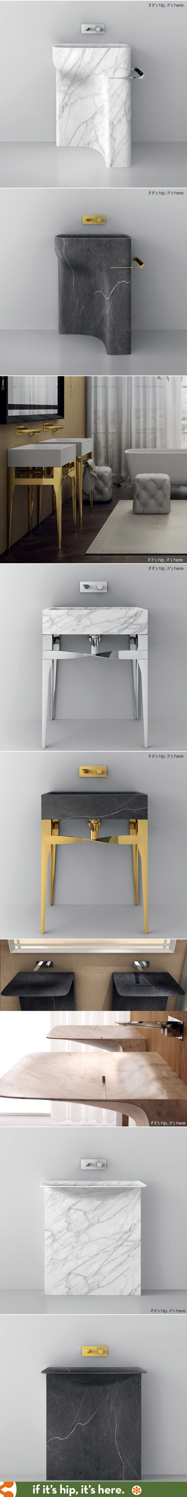 The Accademia Collection of washbasins from Teuco mix marble, metal and modern design.