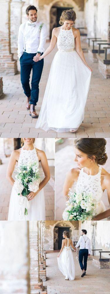 $199.99  A-line High-neck Lace Bodice Beach Wedding Dress,Summer Bridal Gowns,Long Wedding Dress with Belt