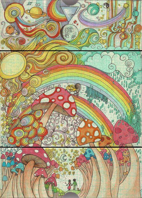 ♥: Magic Mushrooms, Psychedelic Art, Retro Art, Artsy Fartsi, Art Drawings, Rainbows Art, Hippie Art, Trippy Art, Trippy Shit