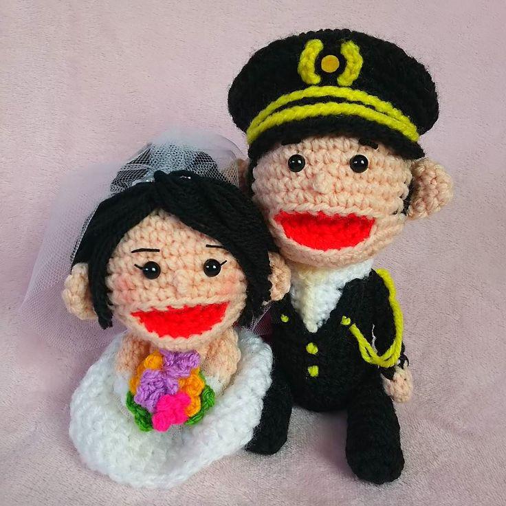 miyao29:: 身長差があるご夫婦のウェディングドール  羨ましい( ) #あみぐるみ #amigurumi  #wedding #ウェルカムドール #結婚式 #礼服