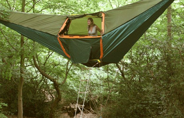 Hammock Tent | Keep your campsite up off the ground and away from critters by rigging it up between a couple of trees! #survivallife www.survivallife.com