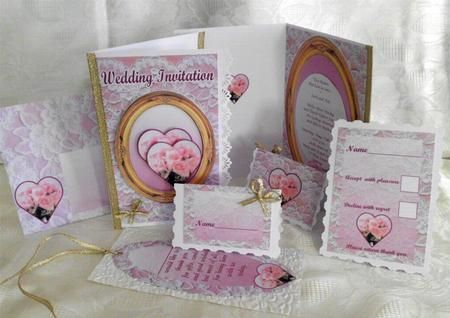 A full set of wedding stationary.   Includes, wedding invite front, and a choice of 2 insides, one you add just a few words, the other you add all your own words. Also has place name cards, a return repley, card, a thank you book mark, and an envelope. Also has a matching cake box cup 208552_906