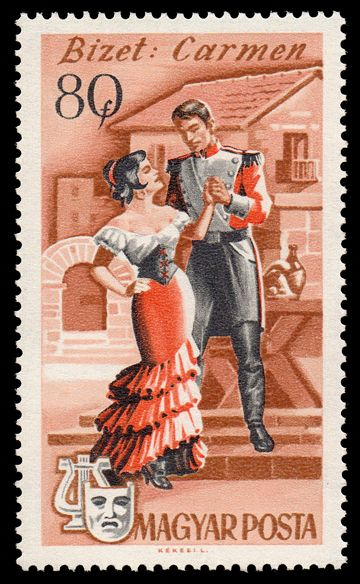 1967 Hungarian postage stamp depicting a scene from Bizet's opera, Carmen