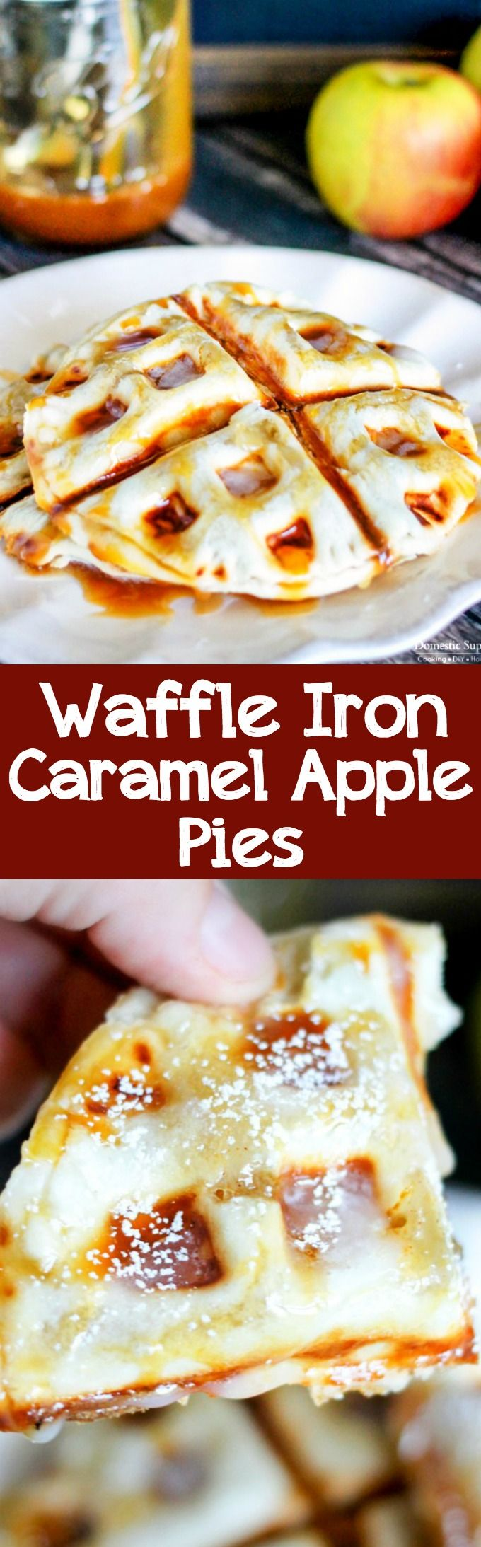 Waffle Iron Caramel Apple Pies are full of apples and caramel sandwiched between a flakey pie crust! Best of all, you can make this pie in 10 minutes!