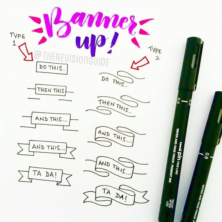 """How to draw banners... #TheRevisionGuide_HowTo add these to your notes and your notes would instantly become more interesting :) . . . #study #doodle…"""