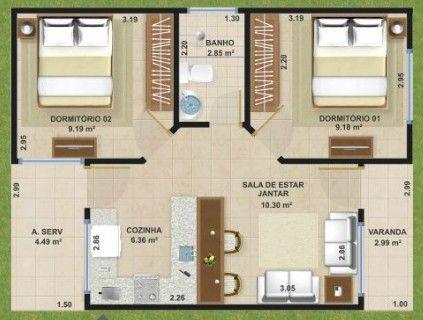 planos de casas pequenas 50m2