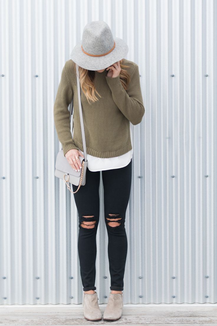 Distressed black denim, Sam Edelman Petty Boot, Loft 2-in-1 sweater, #targetstyle Hat, Floppy Felt Wool Hat | The Styled Press - A Personal Style, Beauty and Lifestyle Blog