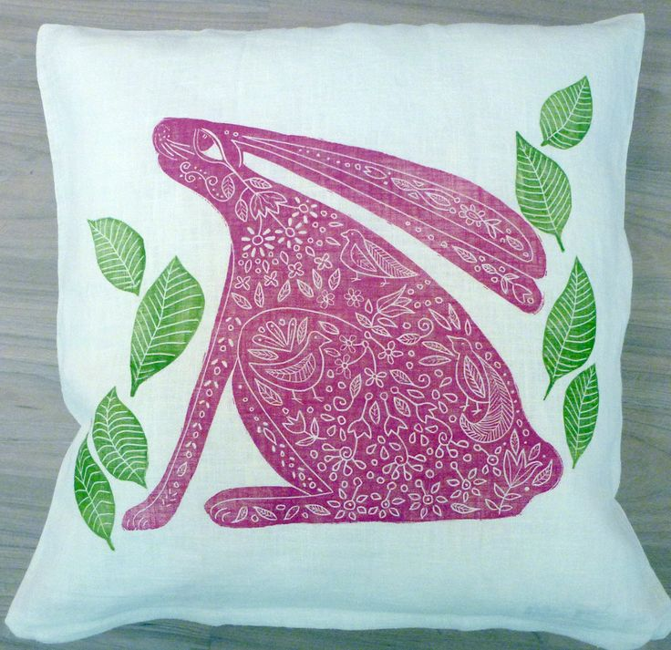 set of 2, decorative cushion covers, nursery interior, hare, rabitt, pink, green, leaves, white, beige, home interior, decorative pillow by cushioncushion on Etsy