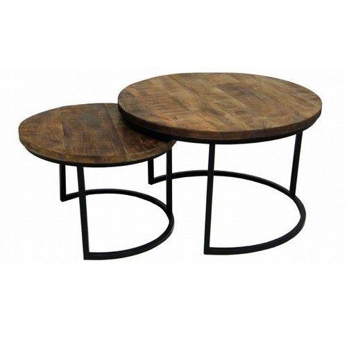 Dit is de salon/bijzettafel van nu! Het leuke design in combinatie met 2 tafeltjes maakt het zo leuk. Het zwart metalen frame met een stevig dik mango houten blad geeft het een industriële sfeer.  Afmeting: Het grote formaat: 56 x 56 x 41 cm  Het kleine formaat: 43 x 43 x 34 cm  U kunt deze bestellen ,maar wij kunnen deze vanaf 12 januari uitleveren!