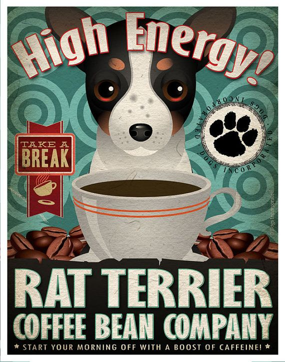 Rat Terrier Coffee Bean Company Original Art by DogsIncorporated, $29.00