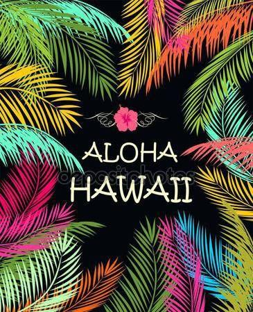Scarica - Aloha Hawaii estate spiaggia festa poster con palmo colorato lascia — Illustrazione stock #130157186