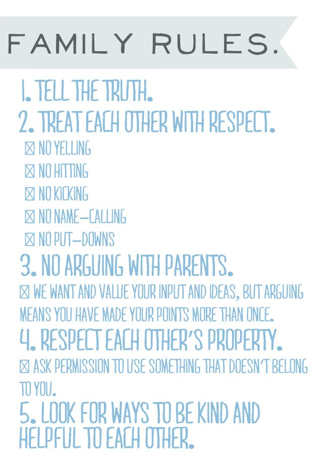IROCKSOWHAT: Family Rules Printable ... looks a lot like our current rules. I like the arguing part!