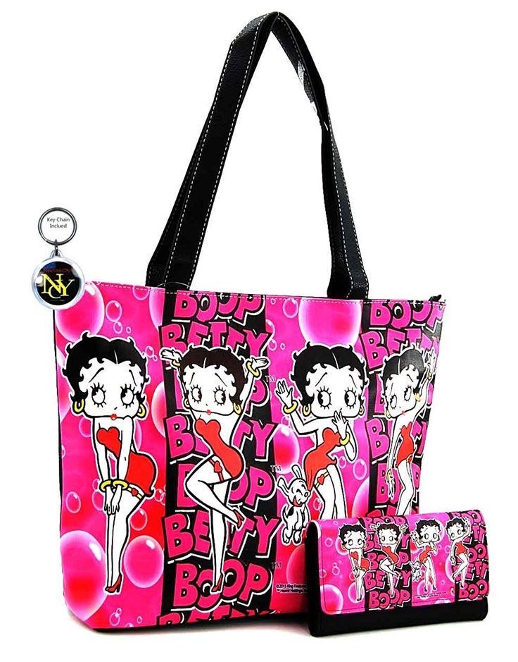 Betty Boop Large Purse and Wallet Set, Pink Bubble, Plus Key Chain *** For more information, visit image link.
