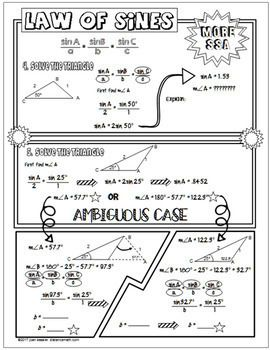 Law of Sines No Prep FUN Notes Doodle Pages   Trigonometry   Law of