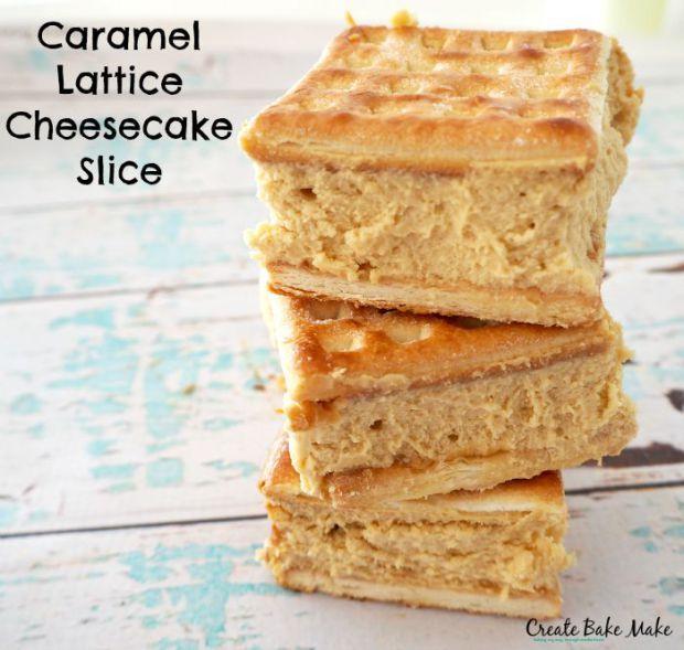 Caramel Lattice Cheesecake Slice - Create Bake Make