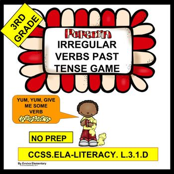 Irregular Verbs Past Tense Game, Past Tense, Grammar, Game, 3rd Grade, Common Core State Standard CCSS.ELA-LITERACY.L.3.1.D., Popcorn, Played in Pairs, Fun! This no-prep useful irregular verbs past tense game is fun and is made extra cute by the popcorn theme. +++++++++++++++++++++++++++++++++++++++++++++++++++++++++++++++++ This game is designed for 3rd grade, but may be used for