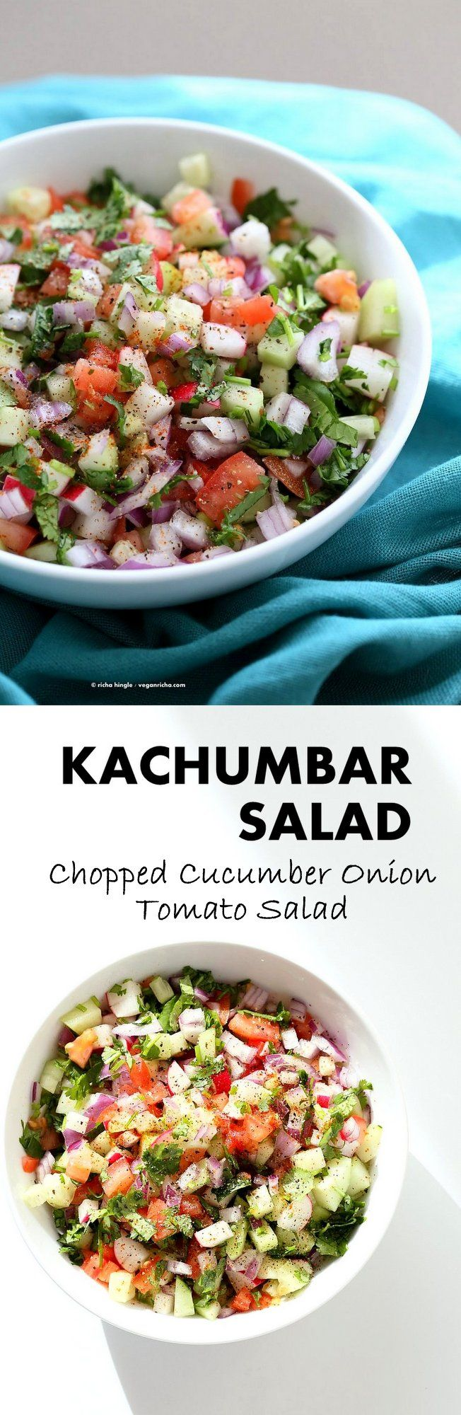 Kachumber Salad - Cucumber Tomato Onion Salad Recipe. Kachumbar is a simple Chopped Summer Salad with chopped onions, tomatoes, cucumbers and a salt pepper lemon dressing. Serve as a side with Indian curries, or as a dip with chips, or over burgers. Vegan Gluten-free Soy-free Oil-free Recipe   VeganRicha.com