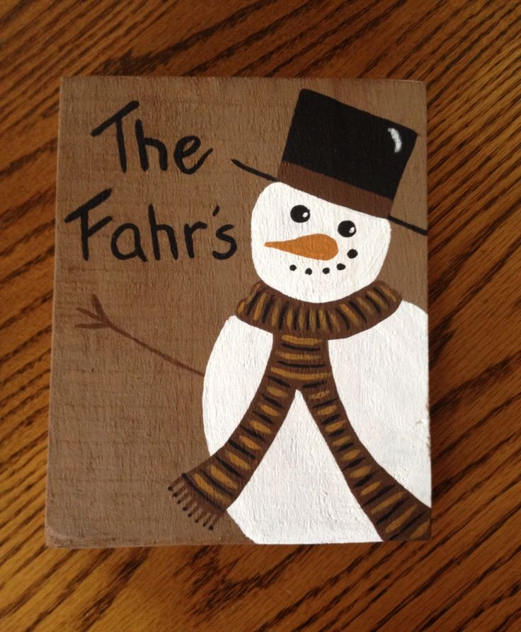 DIY hand painted snowman wooden sign personalized ...