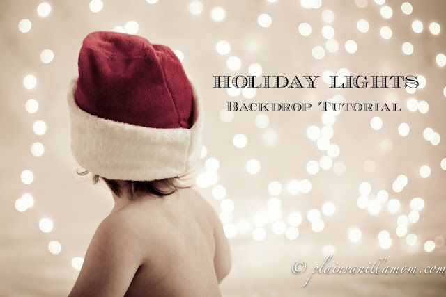 Holiday Lights Photo Backdrop Tutorial for beautiful DIY Christmas photos for your Christmas cards. #Christmas #pictures