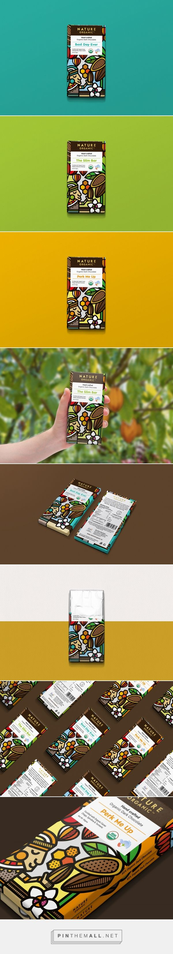 Nature Organic Chocolates packaging design by Smirap Designs (Mike Karolos) - http://www.packagingoftheworld.com/2017/12/nature-organic-chocolates.html