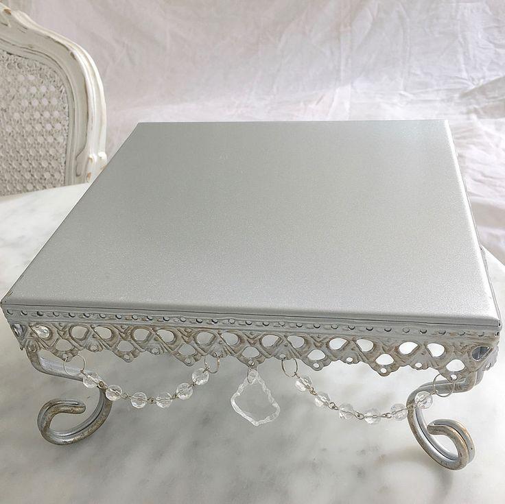 Medium Silver Square Cupcake Wedding Decoraton Cake Xmas Table Display Stand New