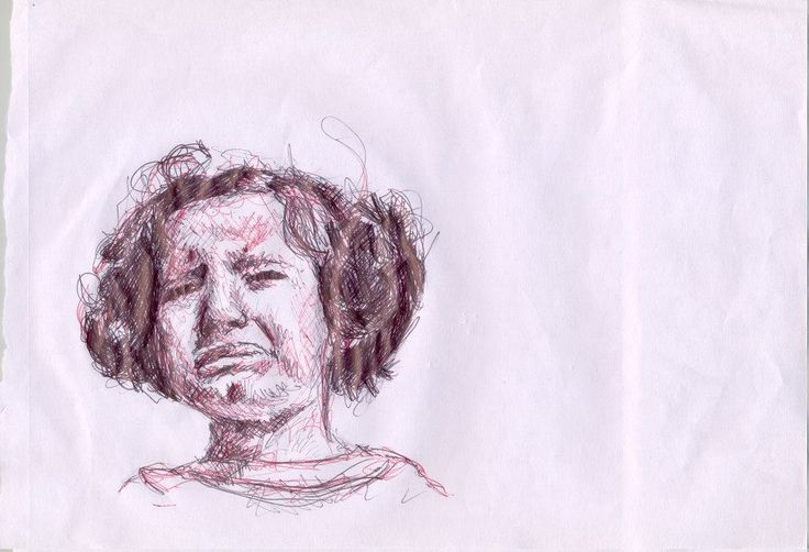 girl crying, portrait in biro