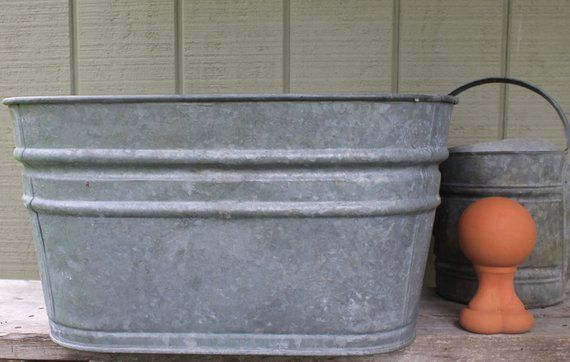 Vintage Large Square Zinc Galvanized Basin With Handles No 3 Rustic Wine Cooler Planter Wash Tub Vintage Large Rustic Planters Wash Tubs