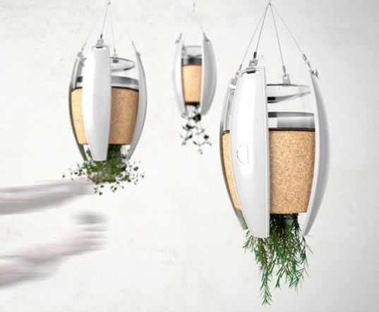 LivingLight: Hanging Garden OLED Pendant Lights Are Powered by the Soil They Contai