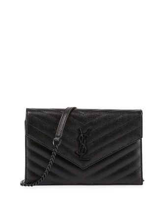 Monogramme Chevron Quilted Shoulder Bag, Black by Saint Laurent at ...