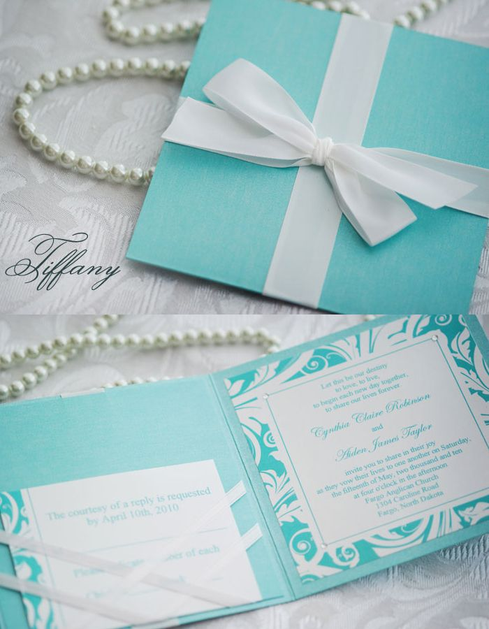 wedding cards with price in chennai%0A  u   cTiffany Box u   d wedding Invitation with ribbon card pocket  By  Enchanted  Moments