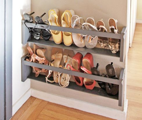 vertical shoe storage for a tight space (line wooden holders with felt or something to protect leather shoes)