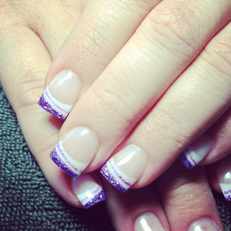 French tips with purple glitter... | Style: Nail Art ...