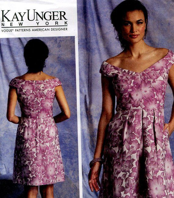 Vogue Pattern V1392 Ms KAY UNGER//NY Lined Dress w//Boned Bodice~Front Pleat Skirt