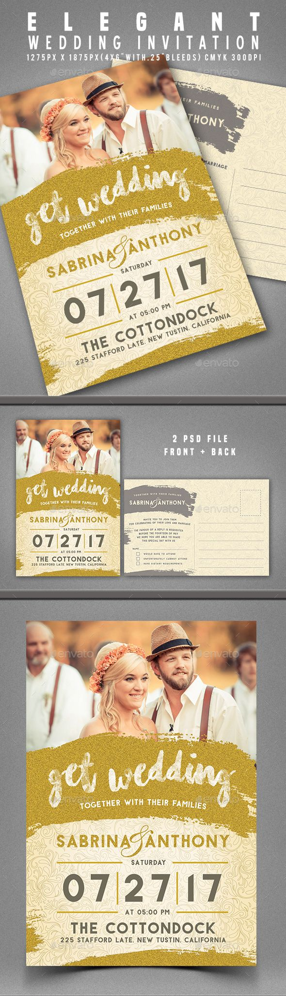 Wedding Invitation Template PSD. Download here: https://graphicriver.net/item/wedding-invitation/17424971?ref=ksioks