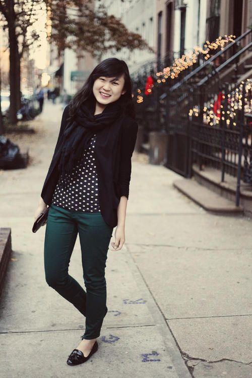 green denim / polka dots / blazer. Substitute my green skirt for the pants & my black cardi for the blazer